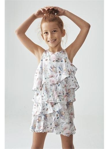 Tyess Kız Çocuk Desenli Elbise Renkli